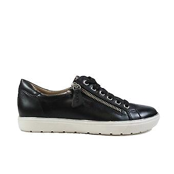 Caprice 23606 Black Leather Womens Lace/Zip Up Casual Trainers