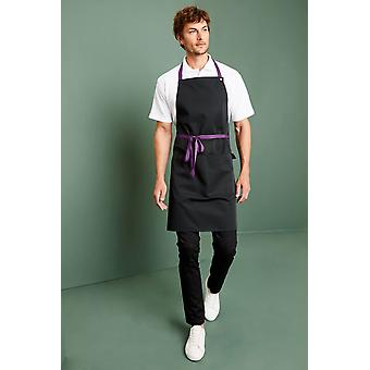 SIMON JERSEY Tailor Made Basic Popper Strap Apron With Pocket, Black