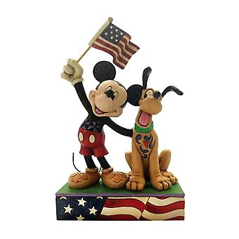 Disney A Banner Day Mickey and Pluto Patriotic Figurine