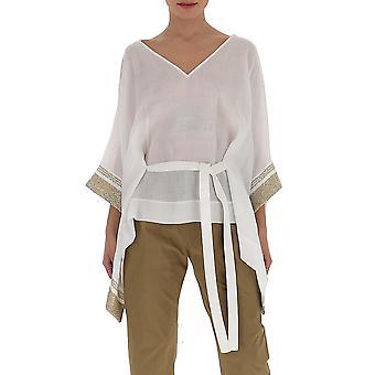 Gentry Portofino D235sag0011 Women's White Silk Blouse