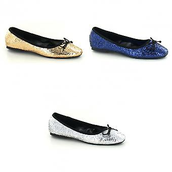 Star Womens/Ladies Glitter Bow Square Toe Ballet Shoes