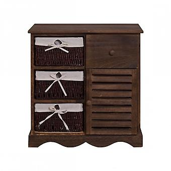 REBECCA Furniture Multipurpose Cabinet Drawer-house brown Vintage Shabby 4 drawers 1 room door