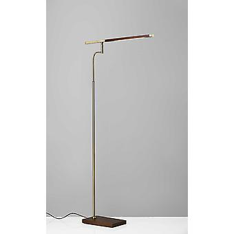 "24"" X 18-24"" X 50.5-62.5"" Walnut Wood LED Gulvlampe"