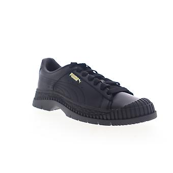 Puma Utility Leather  Womens Black Leather Low Top Sneakers Shoes