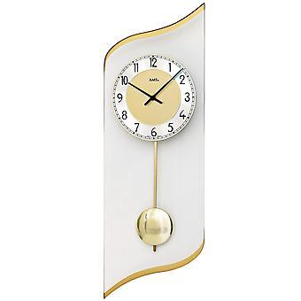 AMS 7437 wall clock quartz with pendulum golden pendulum clock with aluminium and glass
