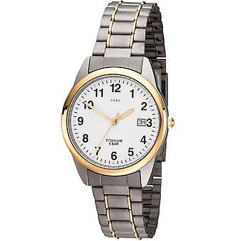 JOBO homens relógio quartzo analógico titânio bicolor banhado a ouro relógio masculino com data