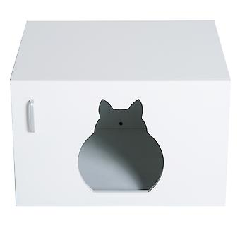 PawHut Wooden Cat Litter Box Toilet Home Cabinet Pet Self Cleaning Kitty House Stand Bathroom Furniture Hidden Washroom White 63L x 53.5H x 41W (cm)