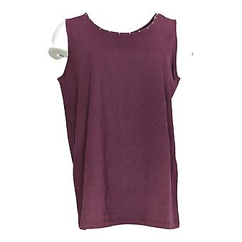 Belle by Kim Gravel Women's Top Embellished Scoop Neck Tank Purple A299308
