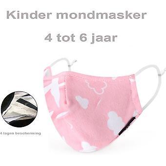 Mükemmel fit PM 2.5 çocuk yüz maskesi yıkanabilir ağız maskesi - pembe bulutlar