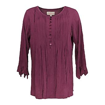 Laurie Felt Women's Top Knit Ruffle Sleeve Henley Purple A309502