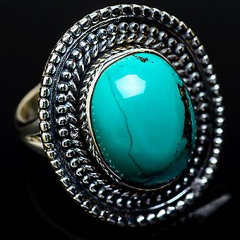 Large Tibetan Turquoise Ring Size 6.5 (925 Sterling Silver)  - Handmade Boho Vintage Jewelry RING14752