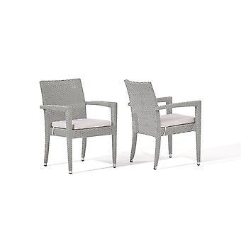 Polyrattan stolička Shero, 2 ks - šedý satén