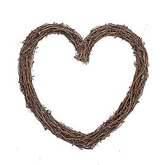 Single 35cm Rustic Vine Heart Wreath for Weddings and Floristry