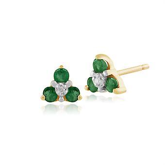 Kukka pyöreä Emerald & Diamond Cluster Stud korvakorut 9ct Keltainen Kulta 26931
