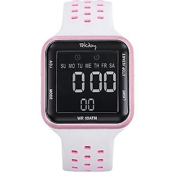 Watch Tekday 655953 - Digital Bracelet Bo tier Silicone White Rose Woman