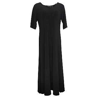 Attitudes by Renee Petite Dress Solid Short Sleeve Maxi Black A375422