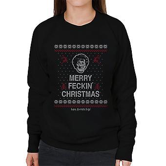 Mrs. Brown's Boys Merry Feckin' Christmas Knit Pattern Women's Sweatshirt