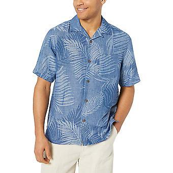 28 Palms Men's Relaxed-Fit Silk/Linen Tropical Leaves Jacquard Shirt, Deep Ocean Blue, X-Large