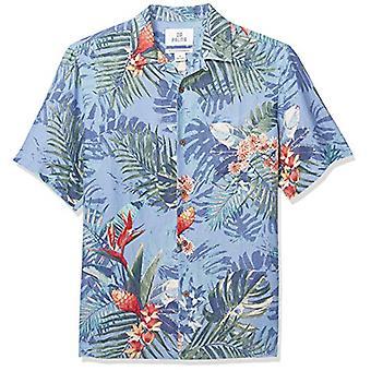 28 Palms Men's Relaxed-Fit Silk/Linen Tropical Hawaiian Shirt, Blue Bird of P...