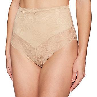 Merk - Arabella Women's Microfiber and Lace Smoothing Shapewear V Short, Sand, Large