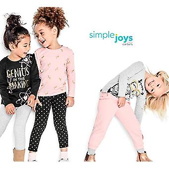 Simple Joys by Carter's Girls' Toddler 3-Pack Graphic Long-Sleeve Tees, Geniu...