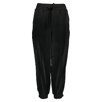 AnyBody Women's Pants Petite Satin Jogger Black A345513
