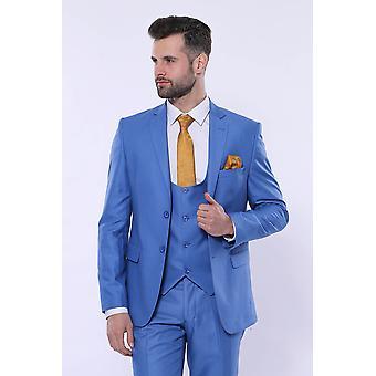 Plain vested blue men's suit | wessi