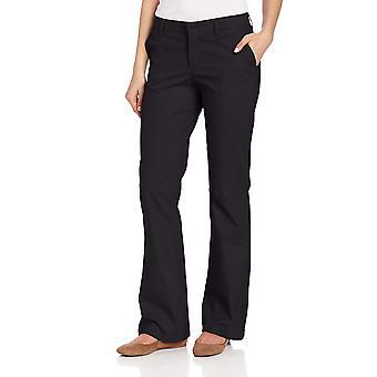 Dickies Women's Flat Front Stretch Twill Pant, Black, 4 Regular