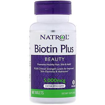 Natrol, Biotin Plus, Extra Strength, 5 000 mcg, 60 tablettes