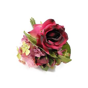 Hot Pink & Purple Artificial Fabric Short Stem Petite Rose & Hydrangea Bouquet