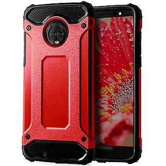 Shell to Motorola Moto G6 Red Armor Protection Case Hard