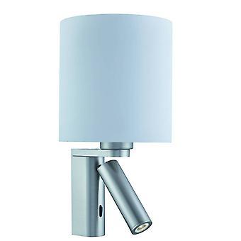 Søgelys - 2 lys indendørs væg lys satin sølv med justerbar læselampe, E27