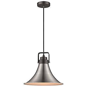 1 domo de luz colgante de techo negro, níquel satinado, E27