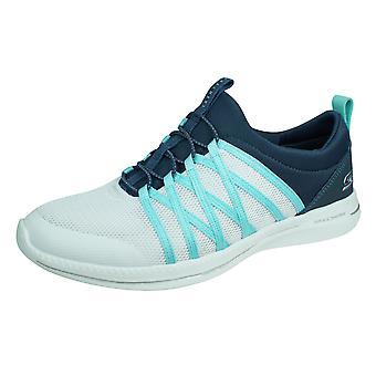 Skechers City Pro Naisten Casual Slip on Trainers - Sininen ja valkoinen