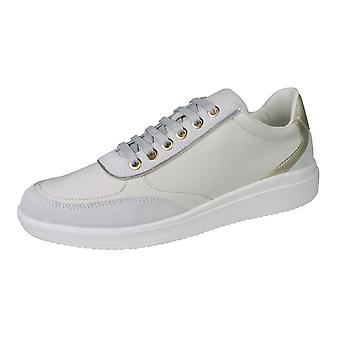 Geox D Tahina C Womens Nappa Leather Lace up and Zip Trainers - Off White
