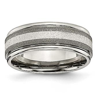Titanium 925 Sterling Silver Grooved Engravable Polished and satin inlay Sterling Inlay Sat/Polish 8mm Band Jewelry Gift