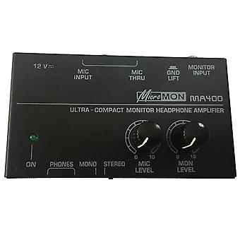 Ma400 Headphone Microphone Preamplifier Personal Monitor Mixer, Eu Plug (noir)