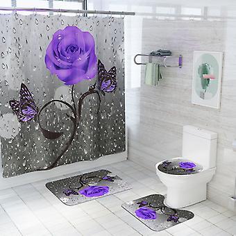 Impresión personalizada impermeable cortina de ducha antideslizante alfombras de baño alfombras de inodoro asiento cubierta piso alfombra baño decoración