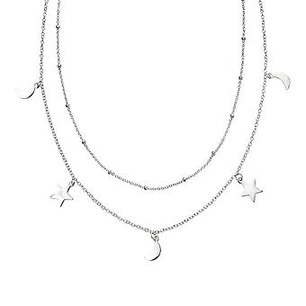 Beginnings Sterling Silver Star Moon Double Row Necklace N4378