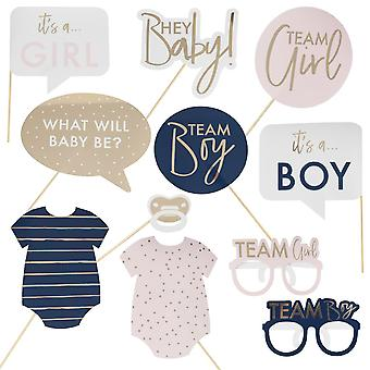 Gender Reveal Party Photo Booth Props - Baby Shower x 10