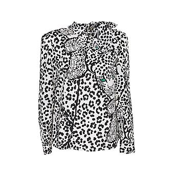 Red Valentino Ur3ab1y056aa03 Women's White/black Silk Blouse