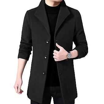YANGFAN Mens Single Breasted Solid Color Overcoat Three Button Jacket