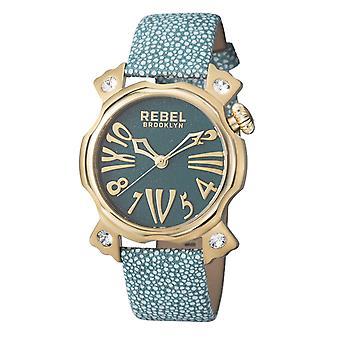 Rebel Women-apos;s RB104-9121 Coney Island Or IP Steel Teal Leather Montre-bracelet