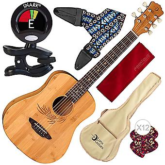 Luna safari bamboo acoustic travel guitar with gig bag, satin natural and clip-on tuner accessory pack