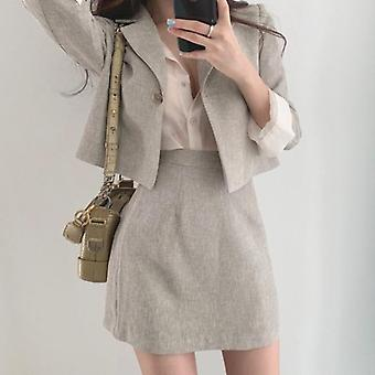 Blazer & Skirt Suits, Full Sleeve Short Blazer Coat + Slim High Waist Skirts,