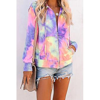 Frauen Tie-Dye Pocket Zip Up Hoodie