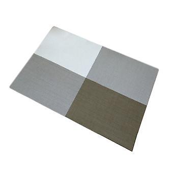 6pcs PVC Tisch Matte Pastoral Cross Grid Stil hitzebeständigen Tischsets Khaki