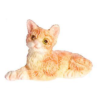 Dolls House Orange Kitten Lying Down Falcon Miniatura Acessório Pet Cat 1:12