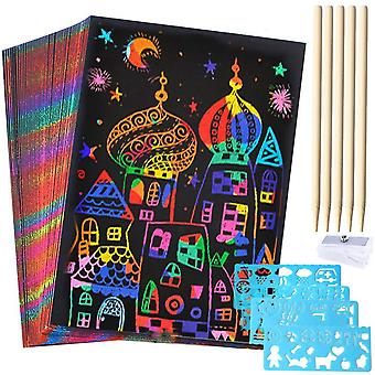 Kuou 50 sheets scratch art crafts for kids, black paper magic rainbow painting boards with 5 wooden
