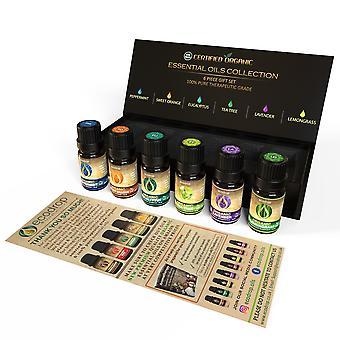 Usda certified organic essential oils set- 100% pure aromatherapy oils - premium quality peppermint,